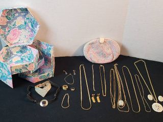 Goldtone Fashion Jewelry  Necklaces  Bracelets  Rings  Clip Earrings and 2 Jewelry Storage Cases