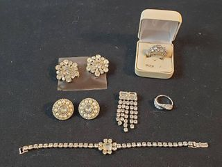 Vintage Rhinestone Jewelry  Bracelet  Rings  Pin and Clip Earrings