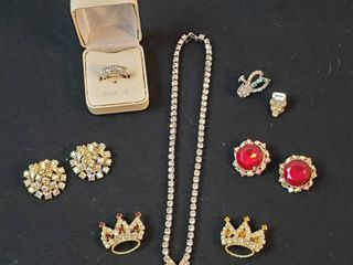 Vintage Rhinestone Jewelry  Necklace  Ring  Pins and Clip Earrings