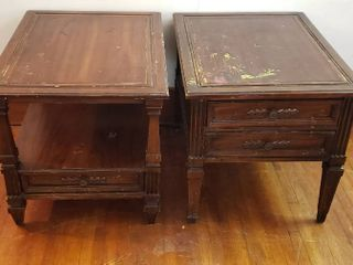 Pair of Hammary Wood End Tables w Drawers   Rough   21 x 27 x 21 in  tall