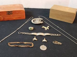 Men s Jewelry Items and 2 Wood Trinket Boxes