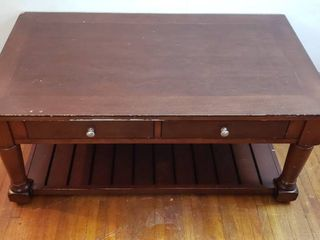 Wood Coffee Table w 2 Drawers   Rough Edges   48 x 28 x 20 in  tall   matches lot  3