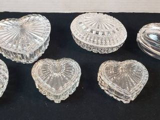 6 Glass Trinket Boxes  4 Hearts and 2 Ovals