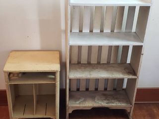 2 Primitive Project Pieces   White Wood 4 Shelf Bookcase  25 x 10 x 48 in  tall  and Cream Wood Album Stand  18 x 14 x 25 in  tall