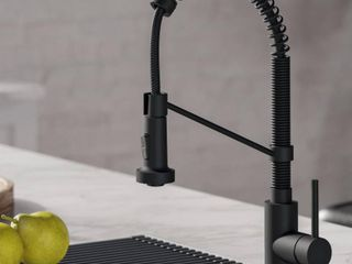 KRAUS Boldena Single Handle 18 Inch Commercial Kitchen Faucet with Dual Function Pull Down Sprayhead in Matte Black Finish