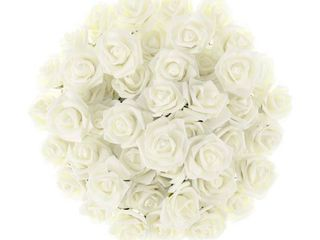 ivory  Artificial Roses Real Touch Fake Flowers 50 Pc Set by Pure Garden