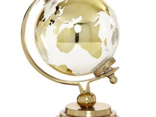 Eclectic 15 x 9 Inch Silver Glass and Aluminum Globe Sculpture