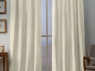 Exclusive Home Curtains loha linen Braided Tab Top Curtain Panels  54 x84  Ivory  Set of 2