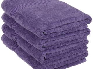 Superior Egyptian Cotton 4 Piece Bath Towel Set  Royal Purple