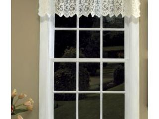 2 lorraine Home Fashions Hopewell lace Window Valance  58 Inch by 12 Inch  Cream