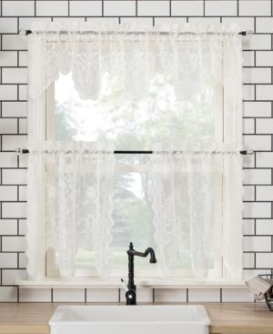 2 24 x58  Alison Floral lace Sheer Rod Pocket Kitchen Curtain Valance and Tiers Set Off White   No  918