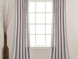 84 x40  linen Button Pinched Pleat light Filtering Window Curtain Panel light Gray   lush DAccor