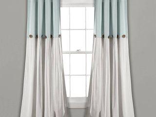 40  x 84  linen Button light Filtering Window Curtain Panel Blue White   lush Decor