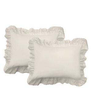 Ruffled lauren Eyelet Cotton Blend Pillow Shams  Pack of 2