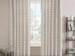 Madison Park Anaheim Plaid Rod Pocket and Back Tab Window Panel with Fleece lining 50  x 95