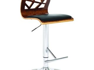 Modern Collection PU leather Height Adjustable Swivel Bar Stool with Walnut Wood Cut Out Back and Gas lift  Black  Set of 2  Retail 219 99