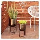 Sebasco 2 piece Round Indoor Outdoor Metallic Gold Metal Planters Set by Havenside Home