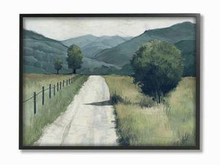 Stupell Industries Farmland Fields Green Blue landscape Painting Framed Wall Art