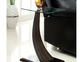 Furniture of America Zai Contemporary Walnut Solid Wood Side Table  Retail 104 99