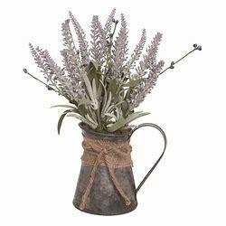 Transpac Metal 12 in  Multicolor Spring lavender in Rustic Watering Can Display