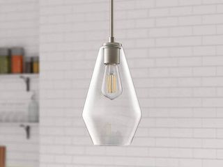 Modern Farmhouse Brushed Nickel Pendant lighting   6 75 x6 75 x14 75  Retail 159 49