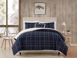 Morgan Home Fashions 4 Piece Navy Plaid Microfiber King Comforter Set  Blue