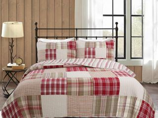 Cozy line Alivia Red Plaid Real Patchwork Cotton Reversible Quilt Set  Retail 93 99