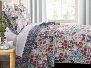 King Size 3 Piece Polyester Quilt Set with Floral Prints  Multicolor  Retail 181 49