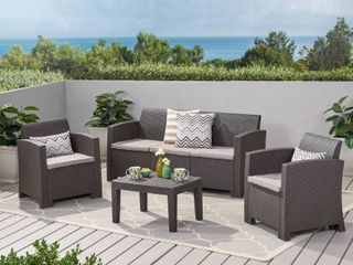 Jacksonville Outdoor 4 piece Wicker Cushioned Chat Set by Christopher Knight Home  Retail 548 99