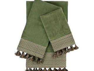 Sherry Kline Meade Sage 3 piece Decorative Embellished Towel Set