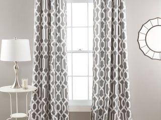 Edward Trellis Room Darkening Window Curtain Gray Set 52x108