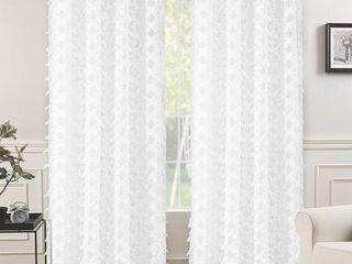 DriftAway White Voile Grommet Semi Sheer Curtain Panel Pair   52  width x 84   length