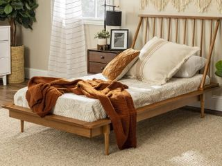 Twin Mid Century Solid Wood Spindle Bed   Caramel