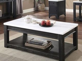 McGill Collection CM4337C 26  Coffee Table with Genuine Marble Top Two tone Design and Transitional Style in White Antique
