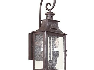 Troy lighting Newton 17 5 H 2 light Outdoor Wall lantern   Old Bronze Finish with Clear Seeded Glass