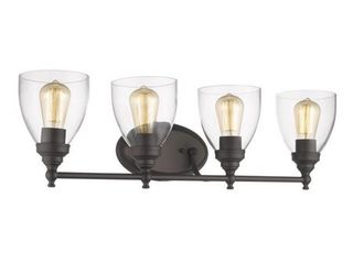 CHlOE lighting ElISSA Transitional 4 light Rubbed Bronze Bath Vanity light Clear Glass 30  Wide