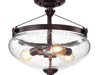 Oil Rubbed Bronze 3 light Semi Flush Mount with Seeded Glass Shade   Oil Rubbed Bronze  Retail 106 49