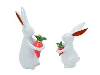 Transpac Ceramic 7 in  White Easter Trendy Bunny with Carrot