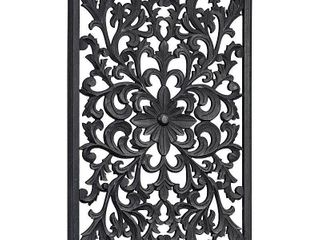 Hand Carved Floral Wood Medallion Wall Art   Black  36  x 24  Retail 76 48