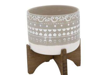 Flora Bunda 5 in  White Mayan Ceramic Pot with 2 Tone Color Block Planter on Wood Stand Mid Century Planter