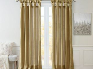 95 x50  lillian Twisted Tab lined light Filtering Curtain Panel Taupe
