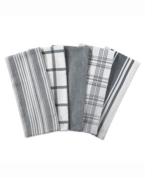 Design Imports Assorted Woven Dishtowel Set of 5  28 inches long x 18 inches wide