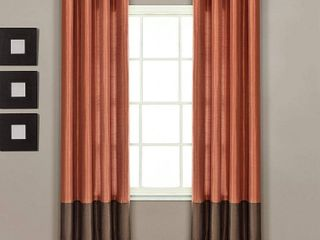lush Decor Prima Curtain Panel Pair  54 Inch by 84 Inch  Brown Rust