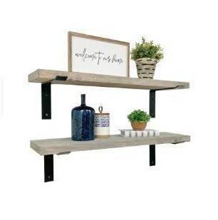Handmade Del Hutson Designs Industrial Bracket Shelves  Set of 2  36    Grey
