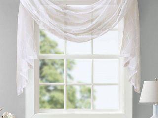 144 x50  Clarissa Diamond Sheer Embroidered Window Scarf White