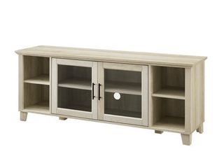Columbus TV Stand with Middle Doors   White Oak