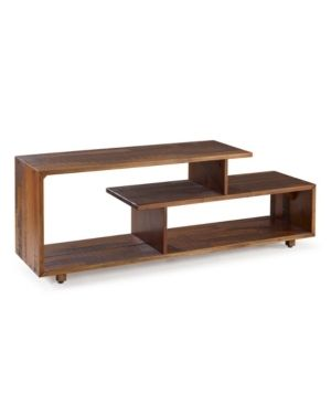 60 inch Rustic Solid Wood Asymmetrical TV Stand Console in Amber
