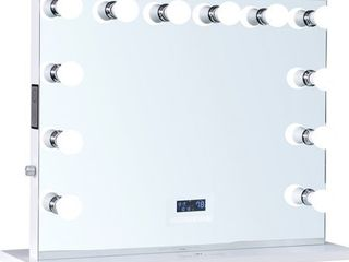 ReignCharm Hollywood Vanity Mirror with Bluetooth Speakers  12 lED Bulbs  32 W x 27 H   White  Retail 457 99