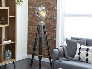 Decmode   Silver Metal and Black Wood Tripod Floor lamp with Spotlight  22  x 75