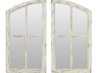 Jolene Arch Window Pane Mirrors Off White 27  x 15   Set of 2  by Aspire